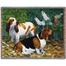 Woven Throw - Basset Hound Pair