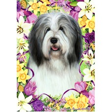 Indoor/Outdoor Easter Flag - Bearded Collie, Blue & White (TB)