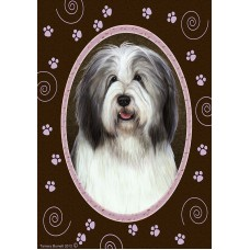 Indoor/Outdoor Paw Print Flag - Bearded Collie, Blue & White (TB)