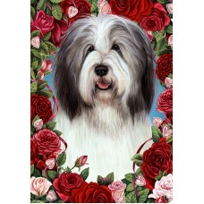 Indoor/Outdoor Roses Flag - Bearded Collie, Blue & White (TB)