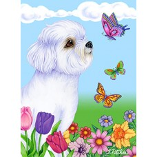 Indoor/Outdoor Butterfly Flag - Bichon Frise Puppy