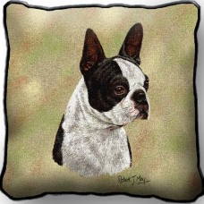 Woven Pillow - Black and White Boston Terrier
