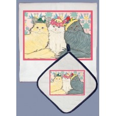 Dish Towel & Pot Holder Set - Persian Cat