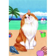 Indoor/Outdoor Seasons Flag - Orange Norwegian Forest Cat (TP)