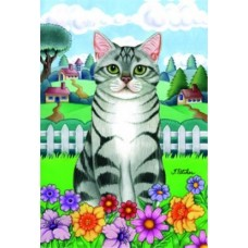 Indoor/Outdoor Seasons Flag - Grey Tabby Cat (TP)