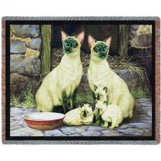 Woven Throw - Siamese Cat Family