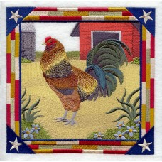 Embroidered Ameraucana Rooster Square C8890