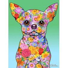 Indoor/Outdoor Flowers Flag - Chihuahua