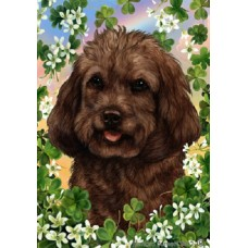 Indoor/Outdoor Clover Flag - Cockapoo, Chocolate (TB)