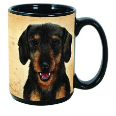 15 oz. Faithful Friends Mug - Black and Tan Wirehaired Dachshund