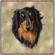 Woven Tote, Blanket or Pillow - Black & Tan Longhaired Dachshund