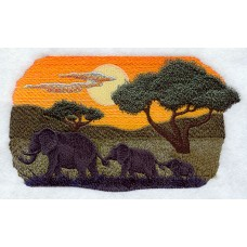 Embroidered Elephant Silhouette at Sunrise A7145