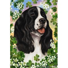 Indoor/Outdoor Clover Flag - English Springer Spaniel, Black and White (TB)
