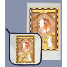Dish Towel and Pot Holder Set - Cow in Stall