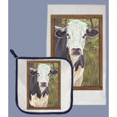 Dish Towel and Pot Holder Set - Cow