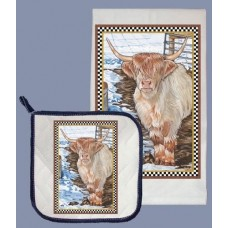 Dish Towel and Pot Holder Set - Scottish Highland Cattle