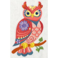 Embroidered Flower Power Owl L4009