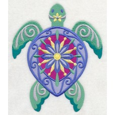 Embroidered Flower Power Sea Turtle M5089