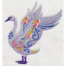 Embroidered Flower Power Trumpeter Swan L8722