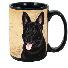 15 oz. Faithful Friends Mug - Black German Shepherd