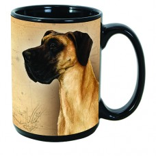 15 oz. Faithful Friends Mug - Uncropped Fawn Great Dane
