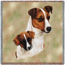 Woven Tote, Blanket or Pillow - Jack Russell Terrier and Pup