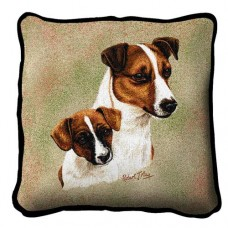 Woven Pillow - Jack Russell Terrier and Pup