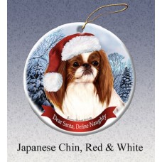 Porcelain Ornament - Red and White Japanese Chin