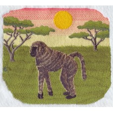 Embroidered Savanna Baboon Scene M1918