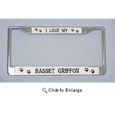 Chrome License Plate Frame - Basset Griffon