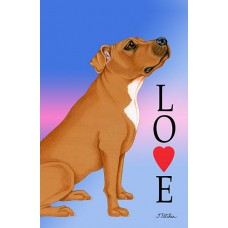 Indoor/Outdoor Love Flag - Brown Pit Bull