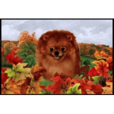 Fall Floor Mat - Red Pomeranian