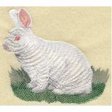 Embroidered New Zealand White Rabbit M1733