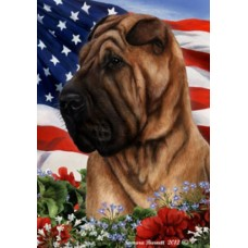 Indoor/Outdoor Patriotic I Flag - Shar Pei (TB)