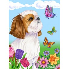 Indoor/Outdoor Butterfly Flag - Brown and White Shih Tzu