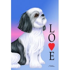 Indoor/Outdoor Love Flag - Black and White Shih Tzu