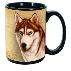 15 oz. Faithful Friends Mug - Siberian Husky, Red and White