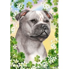 Indoor/Outdoor Clover Flag - Staffordshire Bull Terrier, Blue and White (TB)