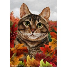 Indoor/Outdoor Fall Flag - Tabby Cat, Brown  (TB)