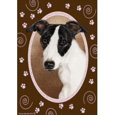 Indoor/Outdoor Paw Print Flag - Whippet (TB)