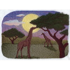 Embroidered Giraffe Silhouette at Sunset A7146