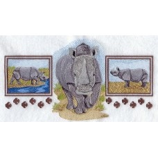 Embroidered Asian Rhino Trio A4484