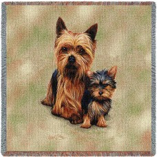 Woven Tote, Blanket or Pillow - Yorkshire Terrier Yorkie and Pup