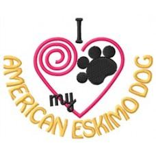 Embroidered I Heart My American Eskimo Ladies Fleece Jacket