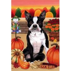 Indoor/Outdoor Autumn Flag - Boston Terrier