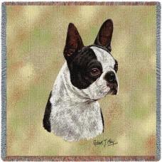Woven Blanket - Black and White Boston Terrier