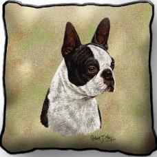 Woven Pillow - Black and White Boston Terrier