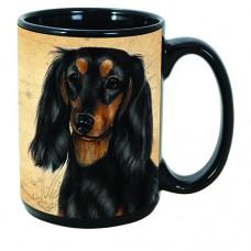 15 oz. Faithful Friends Mug - Dachshund, Black and Tan Longhaired