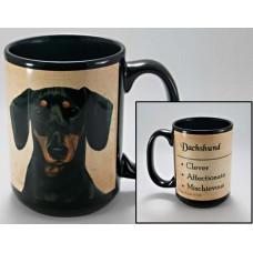 15 oz. Faithful Friends Mug - Dachshund, Black and Tan