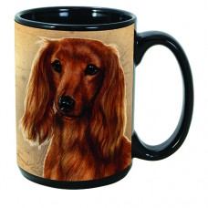 15 oz. Faithful Friends Mug - Dachshund, Red Longhaired